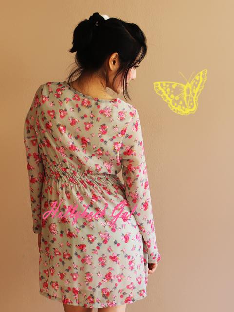 เดรสสั้น ผ้าชีฟองลายดอก น่ารัก