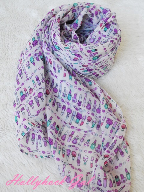ผ้าพันคอ ชีฟอง  Silk chiffon ลายลิปสติก